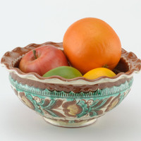 Bowl ceramic painted ethnic for fruits Handmade pottery Kitchen decor ideas
