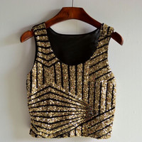 New Women Summer Vest Crop Tank Blouse Tee Sequin Sleeveless Party Tops Clubwear