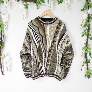 Vintage Coogi Inspired Green And Brown Sweater