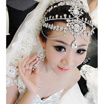 Luxury Bridal Wedding Tiara Crown Tassel Frontlet Semi-Precious Stones Wedding Hair Accessories Jewelry Suit (Size: 0) = 1933218884