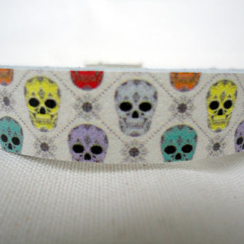 Skull print leather Bracelet with zamak
