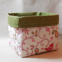 Pretty Christmas Bird Fabric Basket