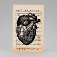 Anatomy human heart vintage music sheet greeting card - Halloween - 4x6 inch on Ivory Paper  - created by NATURA PICTA