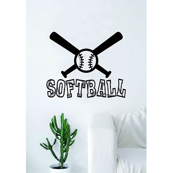Softball Bats and Ball Wall Decal Sticker Bedroom Living Room Art Vinyl Beautiful Inspirational Sports Teen Baseball Kids Girls
