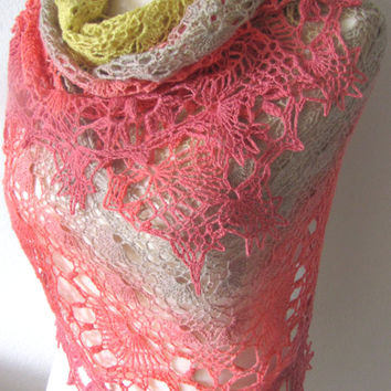 Gradient Gold Taupe Coral Shawl Crochet Hand Dyed Merino Wool Yarn Handmade Versatile Lightweight Lace Wrap Scarf