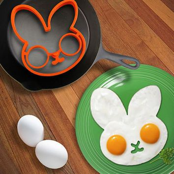 hot new clown head Rabbit shaped silicone egg mold omelet Creativ fried egg mold ring fry egg cooking molds