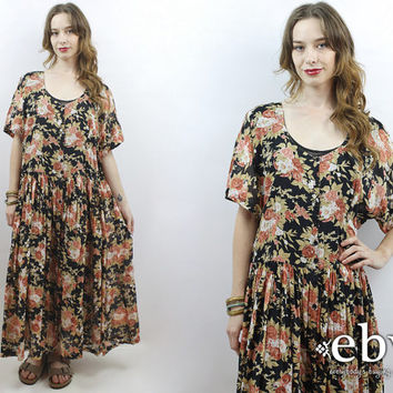 90s Floral Dress Soft Grunge Dress Plus Size Dress Plus Size Vintage Floral Maxi Dress 90s Maxi Dress 1990s Dress 1X Dress 2X Dress