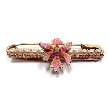 Vintage Faux Pearl Enamel Flower Safety Pin Brooch Gold Tone Pink Enameled Mid Century Floral Jewelry