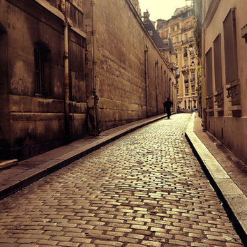 Paris Photography, Paris Print, Cobblestone Street, Sepia Tone, Brown Tan, Home Decor, Wall Art, 8 x 10 Paris, France Photo, 11 x 14 Prints