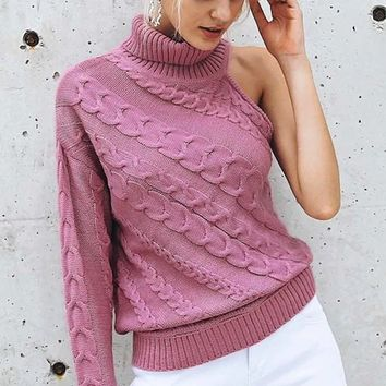 I Love Drama Long Sleeve One Shoulder Pattern Cable Knit Turtleneck Pullover Sweater