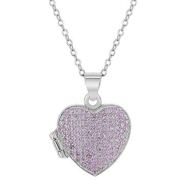 925 Sterling Silver Cubic Zirconia Pink Locket for Girls Heart Photo Necklace 16""