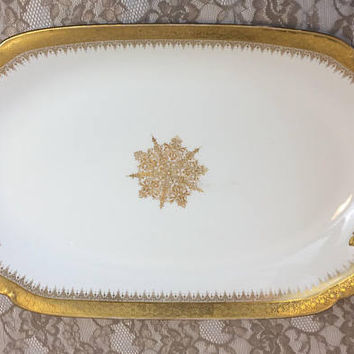 Limoges France Platter, Large Delinieres Antique Gold Encrusted Oval Serving Platter, D & C Co