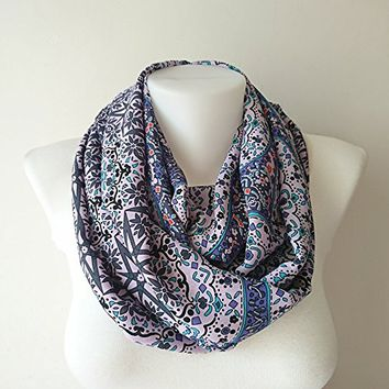 Purple Tribal Print Scarf, Boho Infinity Scarf, Floral Scarf, Chiffon Loop Scarf, Women Circle Scarf, Fashion Accessories, Gift For Her