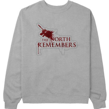 the north remember sweater Gray Sweatshirt Crewneck Men or Women for Unisex Size with variant colour