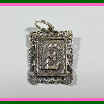 Vintage Silver Charm Letter E Initial Charm Bracelet Charm Monogram Antique Rectangle Shape Filigree Framed Diamond Cut Heavily Oxidized