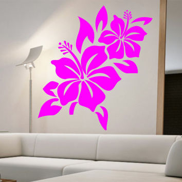 Hibiscus Flower Wall Decal namaste Vinyl Sticker Art Decor Bedroom Design Mural home decor room decor trendy modern hawaii flowers