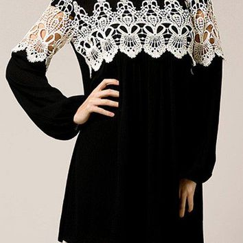Black Boho Flowy Long Sleeve Mini Dress with Crochet Detail & Lace Trim