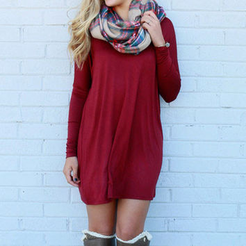 Time Well Wasted Red Long Sleeve Shift Dress