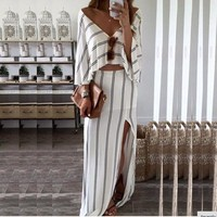 Skirt Set V-neck Irregular White Stripes Prom Dress [10977759495]