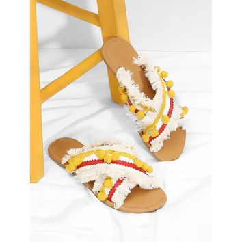 Yellow Criss Cross Flat Sandals With Pom
