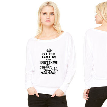 keep calm and don't shave for sherlock holmes women's long sleeve tee