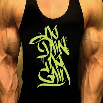 No Pain No Gain. Mens Workout Tank Top. Fitness Tank. Racerback Tank. Muscle Tank. Mens Fitness. Gym Tank. Workout Shirt. Fitness Apparel
