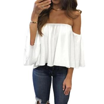 2017 Off Shoulder Womens Summer Tops Chiffon Blouse Sexy Blouse Femme Ladies Ruffles Kimono Backless Ruffle Top Blusas Mujer