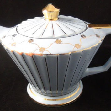 Whimsical Vintage Sadler English Teapot in Light  Lavendar Blue and Gold Trim