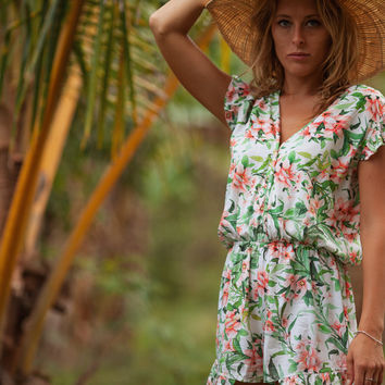 The Sasha Jumpsuit, Floral Playsuit with Cute Frill Shoulders, V Neck Frill Jumper