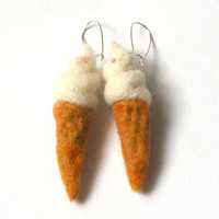 Summer jewelry - needle felted earrings - Ice cream - white - sand brown