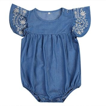 Newborn Baby Girls Denim Romper Jumpsuit Outfits Sun suit Clothes