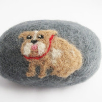 Brown and White English Bulldog Felted Soap, Clean Scent Oval Felt Soap