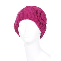 Women Flower Lined Winter Beanie Hat
