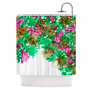 "Ebi Emporium ""Floral Cascade 6"" Pink Green Shower Curtain"