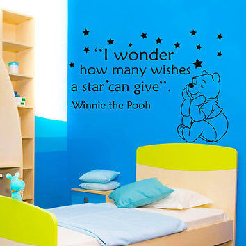 Winnie The Pooh Quote Wall Decals Bear Decal Nursery Room Sticker Decor MR344