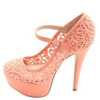 Crochet Lace Mary Jane Platform Pumps by Charlotte Russe - Coral