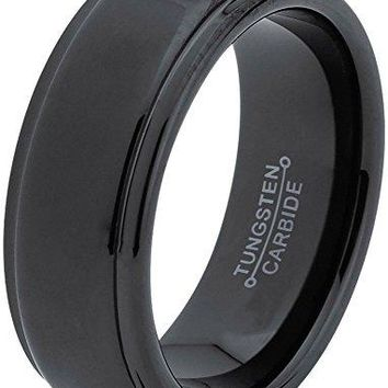 8mm Tungsten Wedding Band Ring for Men Women Comfort Fit Black Step Beveled Edge Polished