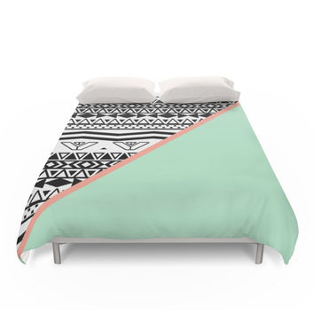 Society6 Block | Black White Aztec Pattern Mint Green Color Block Duvet Covers