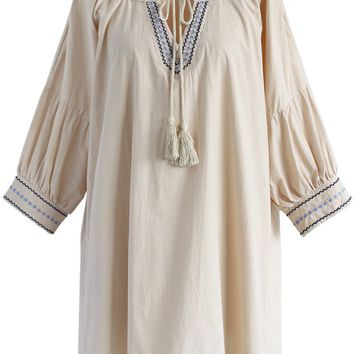 Boho Leisure Embroidered Tunic in Beige