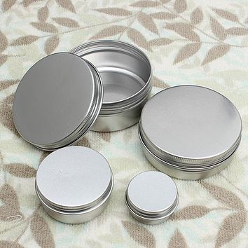 Top Quality 10pcs 50ml Empty Aluminium Cosmetic Pot Lip Balm Jar Tin Containers Screw Lid For Cream Ointment Hand Cream Storage