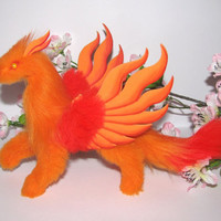dragon posable doll orange red yellow eyes fantasy pet miniature faux fur handmade plush flame wings Jerseydays gift box lucky charm