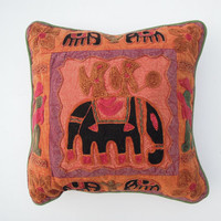 Indian Suzani Sofa Cushion Cover, Wool Embroidery Pillow Case Throw , Bohemian Cushion Cover, Elephant Cushion Cover, Floral Cushion