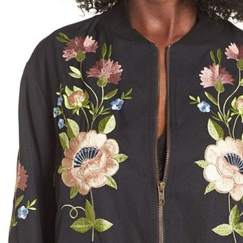 Glamorous Floral Embroidered Bomber Jacket | Nordstrom
