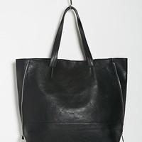 Zippered-Side Faux Leather Tote