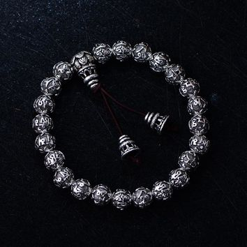 Real Solid Heavy 925 Sterling Silver Beaded Bracelets For Men And Women Tibetan Six Words Mantra Buddhism Prayer Rosary Jewelry