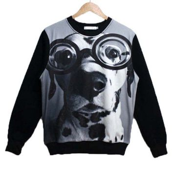 Adorable Dalmatian Wearing Glasses Dog Face Graphic Print Unisex Pullover Sweater in Black and White