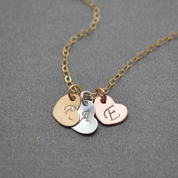 Three Heart Necklace, Personalized Necklace, Single Strand Necklace, Mixed Metal, 3 Initial Necklace, Family necklace