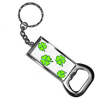 Lots Of Luck - Lucky Irish Four Leaf Clover Bottle Opener Keychain