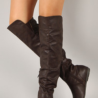 Qupid Ridge-05A Slouchy Round Toe Thigh High Boot