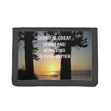 Achieving Photo Quote by Kat Worth Trifold Wallets